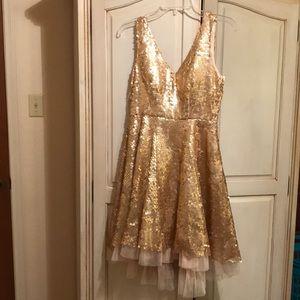 ModCloth Minuet Gold Sequined Dress Size S